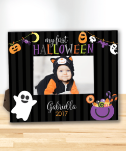 PIF-PF00003 MY FIRST HALLOWEEN SPOOKY GARLAND Custom Personalized 8x10 Picture Photo Frame by Personalize it FREE