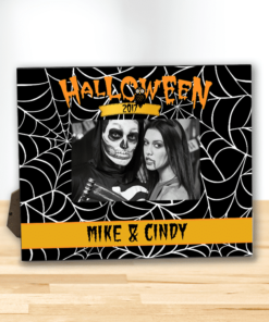PIF-PF00004 HALLOWEEN CREEPY SPIDERWEBS Custom Personalized 8x10 Picture Photo Frame by Personalize it FREE