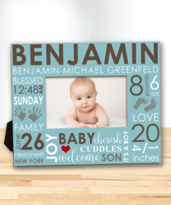 PIF-PF00006 The Day You Were Born Word Art Baby Boy Custom Personalized 8x10 Picture Photo Frame by Personalize it FREE