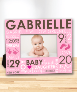 PIF-PF00007 The Day You Were Born Word Art Baby Girl Custom Personalized 8x10 Picture Photo Frame by Personalize it FREE