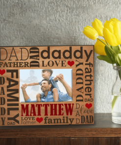 PIF-PF00009 Dad Father Word Art Custom Personalized 8x10 Picture Photo Frame by Personalize it FREE