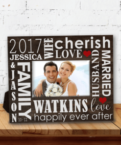 PIF-PF00012 Just Married Word Art Family Memories Beach Theme Custom Personalized 8x10 Picture Photo Frame by Personalize it FREE