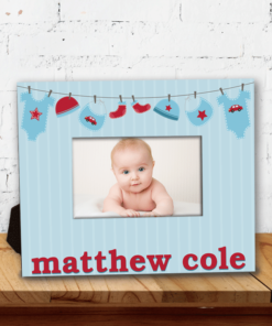 PIF-PF00015 Blue Welcome Baby Boy Baby Girl Custom Personalized 8x10 Picture Photo Frame by Personalize it FREE