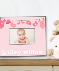PIF-PF00016 Pink Welcome Baby Girl Baby Girl Custom Personalized 8x10 Picture Photo Frame by Personalize it FREE