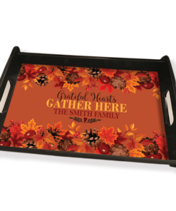 PIF-SERV00002- Grateful Hearts Gather Here Thanksgiving Personalized Serving Tray by Personalize it FREE