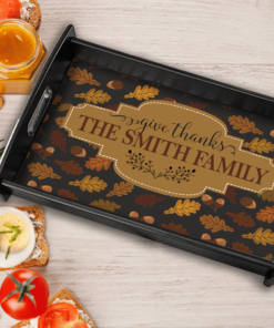 PIF-SERV00003 Give Thanks Family Monogram Thanksgiving Personalized Serving Tray by Personalize it FREE