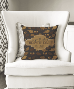PIF-TP10008 Give Thanks Thanksgiving Personalized Family Monogram Throw Pillow by Personalize it FREE