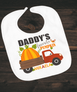 PIF-BIB00009 Daddy's Favorite Pumpkin Thanksgiving Halloween Holiday Personalized Soft Velour Baby Bib by Personalize it FREE
