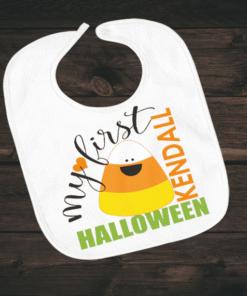 PIF-BIB00011 My First Halloween Candy Corn Halloween Holiday Personalized Soft Velour Baby Bib by Personalize it FREE