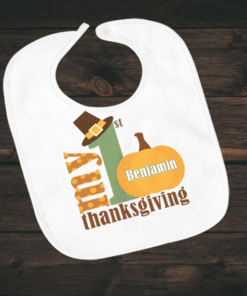 PIF-BIB00019 My First Thanksgiving Holiday Personalized Soft Velour Baby Bib by Personalize it FREE