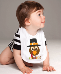 PIF-BIB00020- Little Gobbler Thanksgiving Holiday Personalized Soft Velour Baby Bib by Personalize it FREE