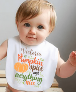 PIF-BIB00021 Pumpkin Spice and Everything Nice Thanksgiving Holiday Personalized Soft Velour Baby Bib by Personalize it FREE