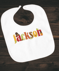 PIF-BIB00022 Text Word Art Thanksgiving Holiday Personalized Soft Velour Baby Bib by Personalize it FREE