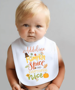 PIF-BIB00023 Pumpkin Spice Everything Nice Thanksgiving Holiday Personalized Soft Velour Baby Bib by Personalize it FREE