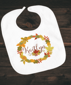 PIF-BIB00024 Circle Leaf Monogram Thanksgiving Holiday Personalized Soft Velour Baby Bib by Personalize it FREE