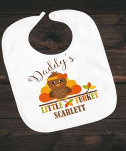 PIF-BIB00028 Daddy's Little turkey Thanksgiving Holiday Personalized Soft Velour Baby Bib by Personalize it FREE