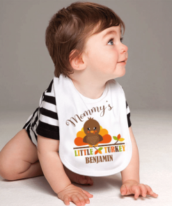 PIF-BIB00029 Mommy's Little Turkey Thanksgiving Holiday Personalized Soft Velour Baby Bib by Personalize it FREE
