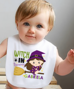 PIF-BIB0007 Witch in Training Halloween Holiday Personalized Soft Velour Baby Bib by Personalize it FREE