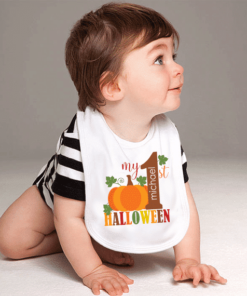 PIF-BO00004 My First Halloween Holiday Personalized Soft Velour Baby Bib by Personalize it FREE