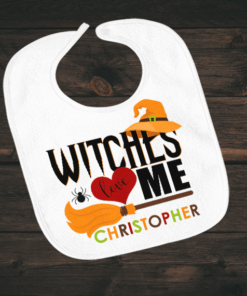 PIF-BO00006 Witches Love Me Halloween Holiday Personalized Soft Velour Baby Bib by Personalize it FREE
