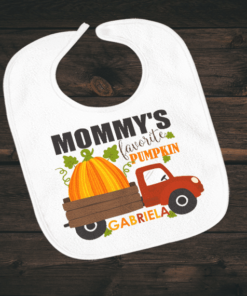 PIF-BO00008 Mommy's Favorite Pumpkin Thanksgiving Halloween Holiday Personalized Soft Velour Baby Bib by Personalize it FREE