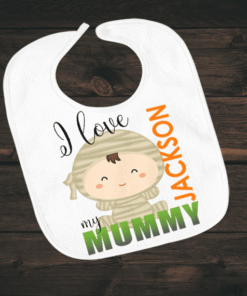 PIF-BO00010 I Love My Mummy Halloween Holiday Personalized Soft Velour Baby Bib by Personalize it FREE