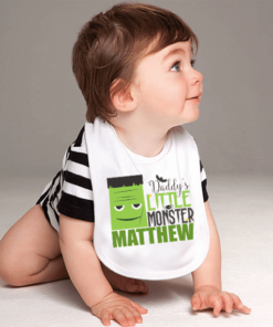 PIF-BO00014 Daddy's Little Monster Frankenstein Halloween Holiday Personalized Soft Velour Baby Bib by Personalize it FREE