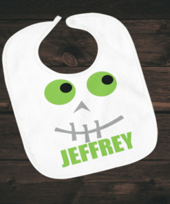 PIF-BO00015 Silly Skeleton Face Halloween Holiday Personalized Soft Velour Baby Bib by Personalize it FREE