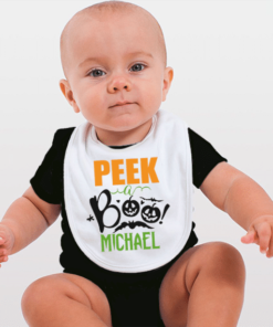 PIF-BO00018 Peek-a-BOO Ghost Pumpkins Holiday Personalized Soft Velour Baby Bib by Personalize it FREE
