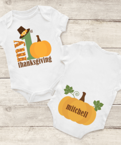 PIF-BO00019 My First Thanksgiving Personalized Thanksgiving Holiday Baby Onesie Bodysuit Shirt by Personalize it FREE
