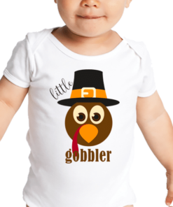 PIF-BO00020 Little Gobbler Turkey Personalized Thanksgiving Holiday Baby Onesie Bodysuit Shirt by Personalize it FREE