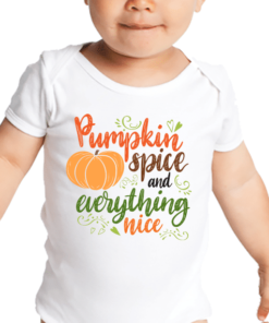 PIF-BO00021 Pumpkin Spice and Everything Nice Personalized Thanksgiving Holiday Baby Onesie Bodysuit Shirt by Personalize it FREE