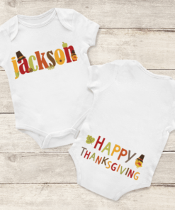PIF-BO00022 Thanksgiving Name Text Art Personalized Thanksgiving Holiday Baby Onesie Bodysuit Shirt by Personalize it FREE