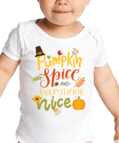 PIF-BO00023 Pumpkin & Spice and Everything Nice Personalized Thanksgiving Holiday Baby Onesie Bodysuit Shirt by Personalize it FREE
