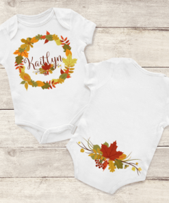 PIF-BO00024 Thanksgiving Leaf Circle Monogram Personalized Thanksgiving Holiday Baby Onesie Bodysuit Shirt by Personalize it FREE