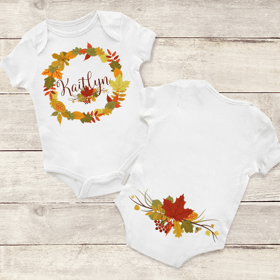 8e289720c PIF-BO00024 Thanksgiving Leaf Circle Monogram Personalized Thanksgiving  Holiday Baby Onesie Bodysuit Shirt by Personalize