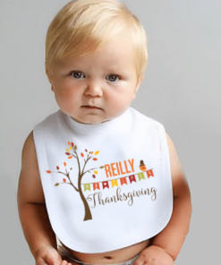 PIF-BO00025 My First Thanksgiving Holiday Personalized Soft Velour Baby Bib by Personalize it FREE