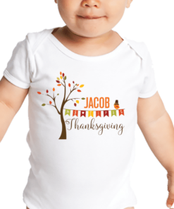 PIF-BO00025 My First Thanksgiving Tree Personalized Thanksgiving Holiday Baby Onesie Bodysuit Shirt by Personalize it FREE
