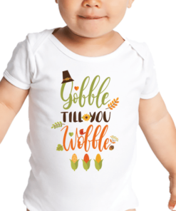 PIF-BO00026 Gobble Til You Wobble Personalized Thanksgiving Holiday Baby Onesie Bodysuit Shirt by Personalize it FREE