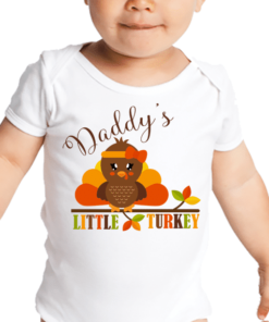 PIF-BO00028 Daddy's Little Turkey Personalized Thanksgiving Holiday Baby Onesie Bodysuit Shirt by Personalize it FREE