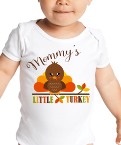 PIF-BO00029 Mommy's Little Turkey Personalized Thanksgiving Holiday Baby Onesie Bodysuit Shirt by Personalize it FREE