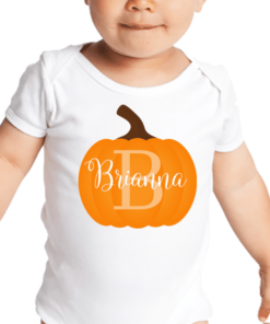 PIF-BO00030 Thanksgiving Pumpkin Monogram Personalized Thanksgiving Holiday Baby Onesie Bodysuit Shirt by Personalize it FREE