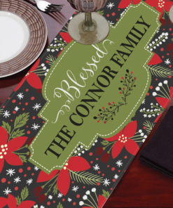 PIF-TR00014 Poinsetta Floral Christmas Custom Personalized Holiday Table Runner Table Accent by Personalize it FREE