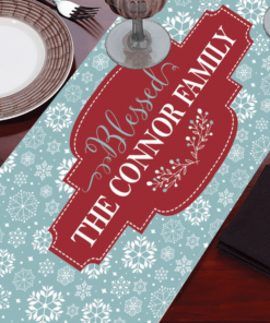 PIF-TR00016 Blue & White Snowflake Pattern Christmas Custom Personalized Holiday Table Runner Table Accent by Personalize it FREE