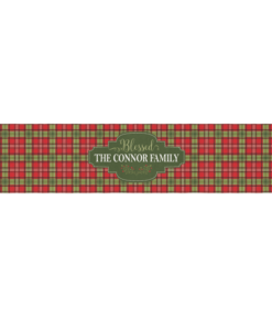 PIF-TR00017 Red & Green Plaid Christmas Custom Personalized Holiday Table Runner Table Accent by Personalize it FREE