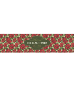 PIF-TR00018 Red & Green Poinsetta Christmas Custom Personalized Holiday Table Runner Table Accent by Personalize it FREE