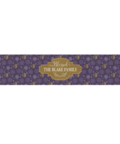 PIF-TR00019 Purple & Gold Snowflake Pattern Christmas Custom Personalized Holiday Table Runner Table Accent by Personalize it FREE