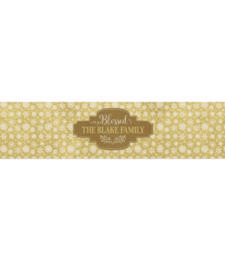 PIF-TR00020 Gold & White Christmas Custom Personalized Holiday Table Runner Table Accent by Personalize it FREE