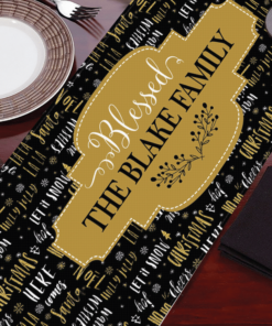 PIF-TR00021 Word Text Art Black Gold Christmas Custom Personalized Holiday Table Runner Table Accent by Personalize it FREE