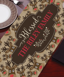 PIF-TR00024 Adorable Rudolph Reindeer Christmas Custom Personalized Holiday Table Runner Table Accent by Personalize it FREE